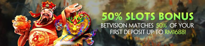slots 50% bonus