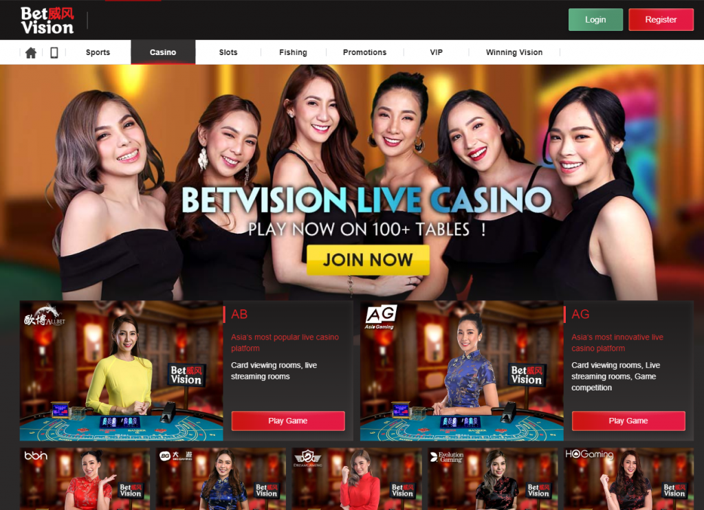 live casino header #1 Sports betting, Live Casino, Slots & Fishing Website in Asia