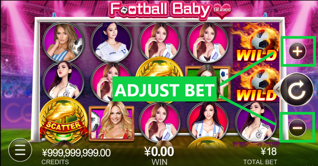 Adjust Bet - Football Baby by CQ9 Slot Game