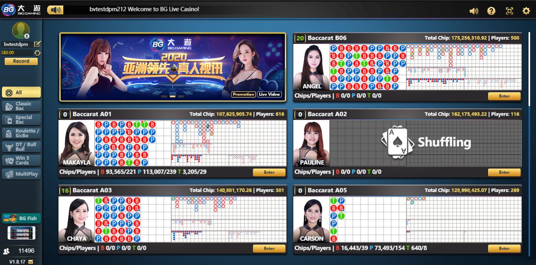 BG lobby Live Casino covid-19