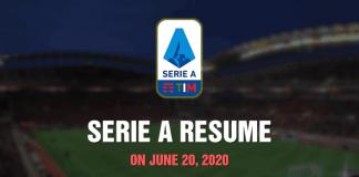 Serie A Resume - June 20, 2020