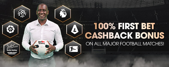 100% FIRST BET CASHBACK on All 5 Major Football Leagues - Header