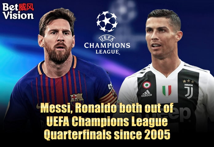 Messi and Ronaldo out of UEFA CL since2005