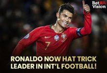 Ronaldo now hat trick leader in intl football